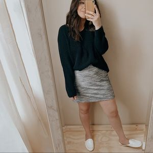 Grey modest mini high rise minimal skirt